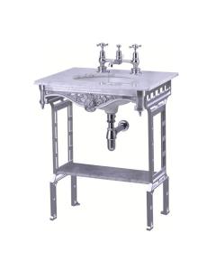 Burlington Georgian Marble Basin with Aluminium Wash Stand and Shelf, 650mm Wide, 2 Tap Hole BU10238