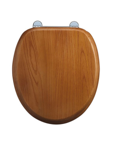 Burlington Standard Moulded Wood Toilet Seat, Standard Hinges, Oak BU10822