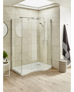 Nuie Pacific Curved Walk-In White Contemporary Tray Left Hand - BSF1400SLL BSF1400SLL