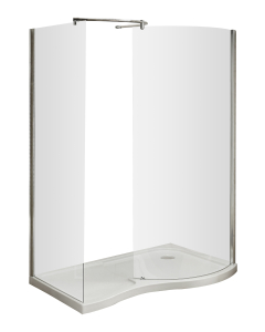 Nuie Pacific Curved Walk-In Polished Chrome Contemporary Enclosure - AQW AQW