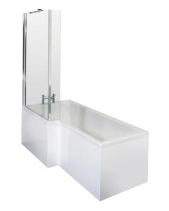 Nuie Shower Baths White Contemporary Square Left Hand Bath Set (1700) - SBATH05 SBATH05