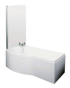 Nuie Shower Baths White Contemporary B Shaped Left Hand Bath Set (1500) - SBATH20 SBATH20
