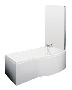 Nuie Shower Baths White Contemporary B Shaped Right Hand Bath Set (1500) - SBATH21 SBATH21
