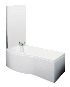 Nuie Shower Baths White Contemporary B Shaped Left Hand Bath Set (1700) - SBATH07 SBATH07