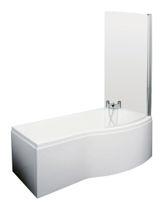 Nuie Shower Baths White Contemporary B Shaped Right Hand Bath Set (1700) - SBATH08 SBATH08