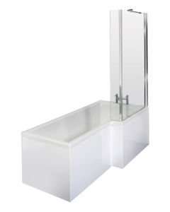 Nuie Shower Baths White Contemporary 1500 Bath, Screen and Front Panel Right Hand - SBATH29 SBATH29