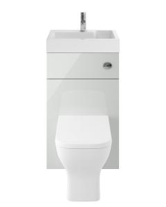 Nuie Athena 2 in 1 Gloss Grey Mist Contemporary 500mm 1 Tap Hole Basin & Toilet Combination Unit - PRC745CB PRC745CB