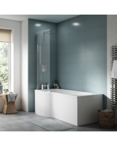 Nuie Shower Baths White Contemporary 1500 Bath, Screen and Front Panel Right Hand - SBATH25 SBATH25