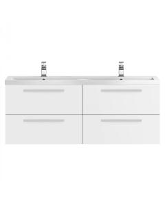 Hudson Reed Quartet White Gloss 1440 Double Cabinet & Basin - QUA001 QUA001