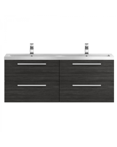Hudson Reed Quartet Hacienda Black 1440 Double Cabinet & Basin - QUA003 QUA003