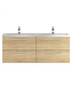 Hudson Reed Quartet Natural Oak 1440 Double Cabinet & Basin - QUA004 QUA004