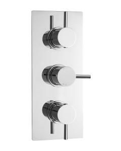 Nuie Quest Chrome Contemporary Triple Thermostatic Shower Valve - QUEV53 QUEV53