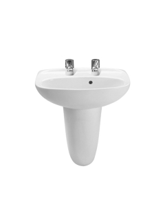 Roca Laura Basin with Semi Pedestal, 450mm Wide, 2 Tap Hole RO10171