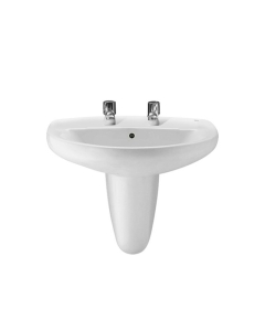 Roca Laura Basin with Semi Pedestal, 520mm Wide, 2 Tap Hole RO10177