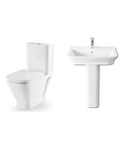 Roca The Gap 4 Piece Bathroom Suite Close Couple WC and 550mm W Basin with Full Pedestal RO10051
