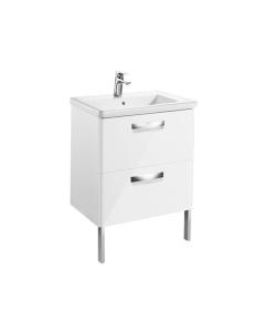 Roca The Gap 2-Drawer Bathroom Vanity Unit with Basin 600mm W - Gloss White - 855997806 RO10379
