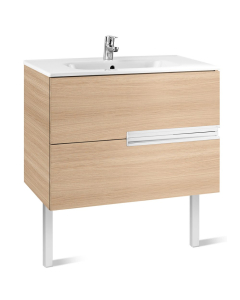 Roca Victoria-N Unik 2-Drawers Vanity Unit with Basin 800mm Wide Textured Oak 1 Tap Hole - 855832155 RO10407