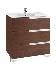 Roca Victoria-N Unik 3-Drawers Vanity Unit with Basin 1000mm Wide Textured Wenge 1 Tap Hole - 855836154 RO10424