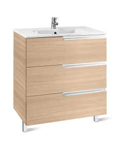 Roca Victoria-N Unik 3-Drawers Vanity Unit with Basin 700mm Wide Textured Oak 1 Tap Hole - 855838155 RO10438