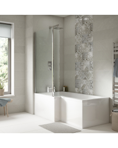 Nuie Bath Panels White Contemporary Shower End Panel (700mm) - WBS301 WBS301
