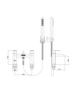 Nuie Moat Chrome Contemporary Bath Shower Mixer - TAT304 TAT304
