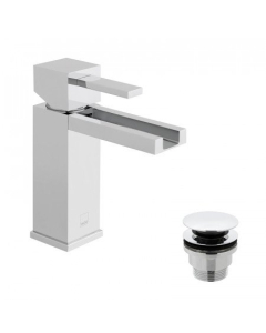 Vado Té Falls Mono Basin Mixer With Waterfall Spout Smooth Bodied Single Lever With Clic-Clac Waste - Tef-100/Cc-C/P VADO1688