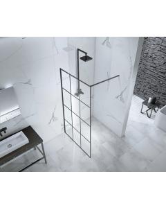 Aquaglass 1000mm Velar 8mm Black Walk-In Front Panel with Towel Rail - BEVE3714-10 BEVE3714-10