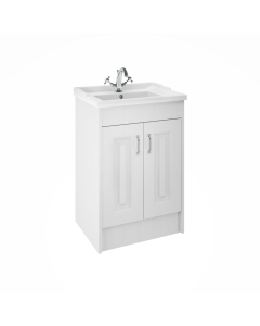 Nuie York Floor Standing Vanity Unit with Basin 600mm Wide White Ash 1 Tap Hole - YOR103 YOR103