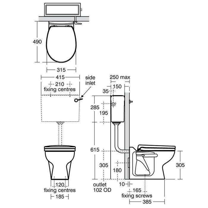 Armitage Shanks Contour 21 Back To Wall Toilet 305mm High